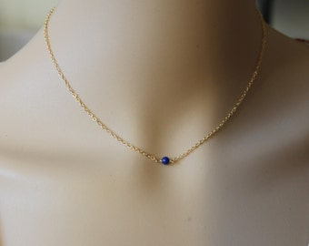 Single 4mm Natural Blue Lapis Lazuli necklace, 14K Gold filled, blue lapis necklace, September birthstone, Blue stone necklace