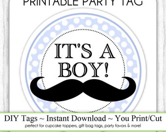 Instant Download - Little Man Mustache, It's a Boy Baby Shower Printable Party Tag, Cupcake Topper, DIY, You Print, You Cut