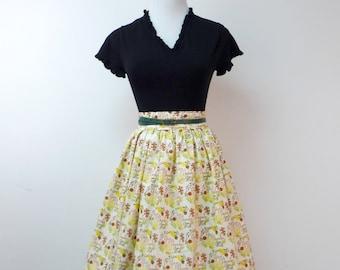 "GIVE THANKS . handmade retro style . high waist . full skirt . medium / 27"" waist . handmade in USA"