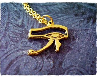 Gold Eye of Horus Necklace - Antique Gold Pewter Eye of Horus Charm on a Delicate Gold Plated Cable Chain or Charm Only