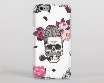 Skull with Moustache Smoking a Pipe Surrounded By Roses Hipster Phone Case/Cover for iPhone Case/Cover Samsung Case/Cover - FREE UK Delivery