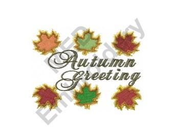 Autumn Greeting - Machine Embroidery Design, Autumn, Fall, Leaves