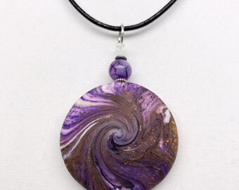 Karma Spiral Pendants - #281 Polymer Clay Pendant, Good Luck Charm, Good Karma, Handmade, One of kind, Unique Gift, Boho Jewelry