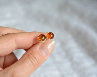 Natural amber stud earrings, honey natural baltic amber studs, sterling silver and amber dot post earrings, small little amber stone earring