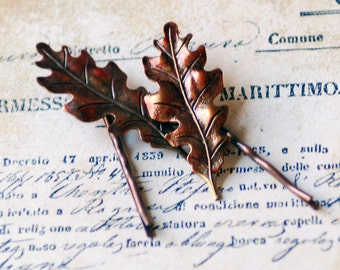 Autumn Oak Leaf Bobby Pins, Autumn Wedding, Hand Inked Oak Leaf Jewelry, Fall Accessory, Brass Oak Leaves, Fall Leaf Hair Pins, SRAJD
