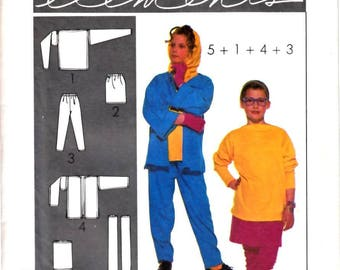Simplicity 8842 Easy Knit Elements Girl Tunic, Jacket, Pants, Skirt Sewing Pattern One Size to Fit Sz 7-14  Vintage 1980s UNCUT