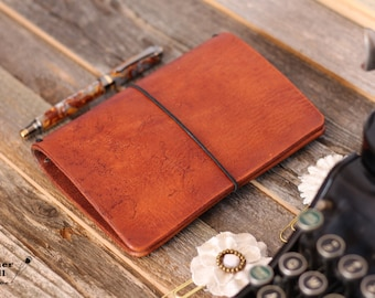 Pocket Travelers Notebook - Field Note Leather Cover - Pocket Wide TN - Bullet Journal - Notebook Cover - Free USA Shipping