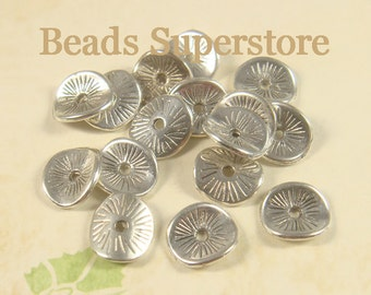 9.5 mm x 8.5 mm Antique Silver Wavy Spacer Bead - Nickel Free, Lead Free and Cadmium Free - 20 pcs