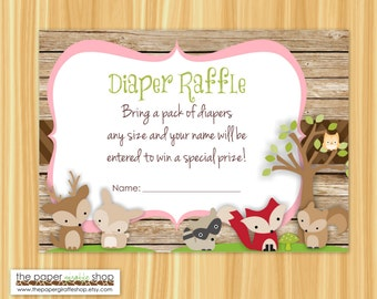 Woodland Creatures Diaper Raffle Card | Woodland Creatures Baby Girl Baby Shower | Diaper Raffle Card | Instant Download