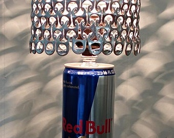 Red Bull Energy Can Lamp with Pull Tab Lamp Shade