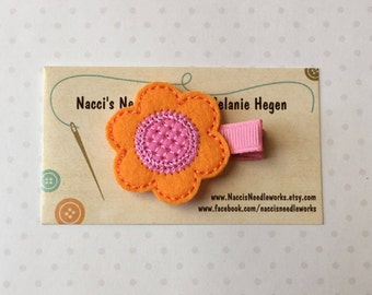Felt Hair Clip- Spring Flower Hair Clip- Orange Flower with Pink Center