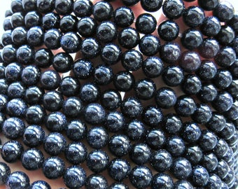 6mm Blue Goldstone beads, full strand, goldstone beads, sparkle beads, shiny beads, blue beads, gold beads, jewelry supplies, bracelet beads