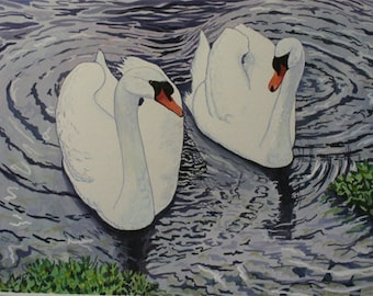 Two Swans Giclee' watercolor Print