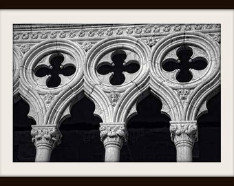 Venice Photography, Doge's Palace, St. Mark's Square, Black and White, Fine Art Photography, Gothic Wall Art, Travel Photography