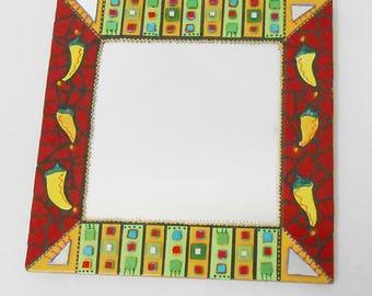 Mosaic mirror peppers 46 x 46 cm