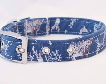 Handmade blue stag dog collar