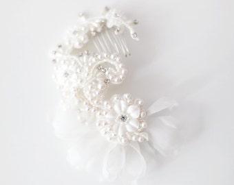 Haarschmuck, Kämmen Braut Haare, Spitze Kopfschmuck, Perlen Haare kämmen, Blumen Haare kämmen - Stil-419