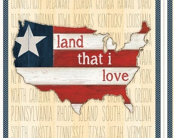 20% off thru Apr 24th fabric panel HERITAGE-Land that I Love-America the Beautiful- by Wilmington Fabrics- 24 by 44 inches-84401-134
