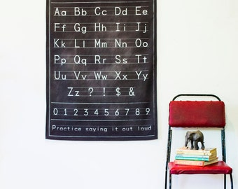 Alphabet poster wall decor/ Fabric Black chalkboard alphabet chart/ education charts / back to school / starting school / fabric wall decor