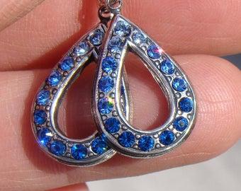 Ombre teardrop rhinestone earrings with sterling sliver hooks, Light Sapphire, Sapphire and Capri Blue earrings, September birthstone