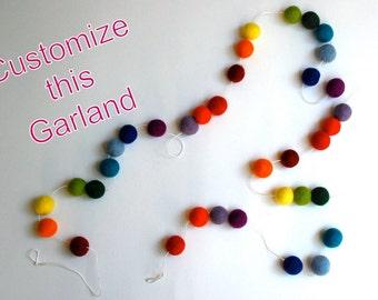 Custom Felt Ball Garland, Pom Pom Garland, Photo Prop, Bunting Banner, Holiday Decor, Nursery Decor, Kids Room Decor