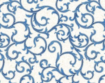 Arabella~Blue Scroll~Cotton Fabric,By the yard Quilt, Craft,Benartex Fast Shipping M225
