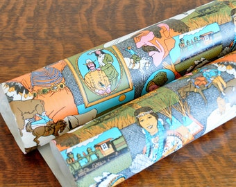 Vintage Western Theme Wrapping Paper Roll, Gift Wrap, Mixed Media, Collage, Scrapbook