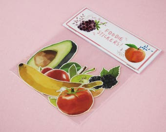 Stickers / Food Stickers / Laptop Sticker Pack / Avocado Sticker / Planner Sticker / Macbook Decal / kawaii stickers / cute laptop stickers.