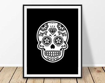 Skull wall art, Sugar skull art, Halloween print, Halloween art, Mexican skull, Printable art, Mexico design, Day of the Dead art, Calavera