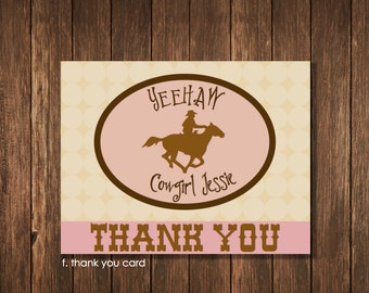 Cowgirl Theme Birthday Party - Personalized Printable 5.5 x 4.25 Thank You Notecard
