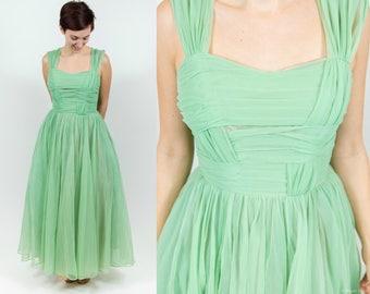 1950s / 1960s Light Green Nylon Evening Dress   50s Prom Dress   Party Dress   1950s Vintage Dress   60s Formal Dress   1950s Bridal Dress