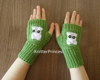 Knit owl gloves, owl arm warmers, owl fingerless gloves, Christmas gift, Valentines day gift, womens gloves, mens gloves, animal gloves