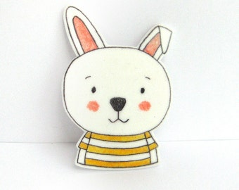 Rabbit Brooch with striped T-shirt