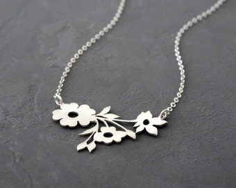 Flower Necklace - Botanical Jewelry - Nature Necklace - Delicate Necklace - Sterling Silver Necklace - Dainty Necklace - Gift for Her