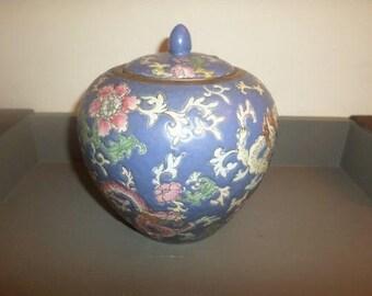 Stunning Vintage Pink and Blue Ginger Jar with Original Lid Pristine Condition