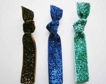 Set of 3 Glitter Hair Tie Package by Crimson Rose Cottage - Brown, Blue and Turquoise Glitter Hair Ties that Double as Bracelets