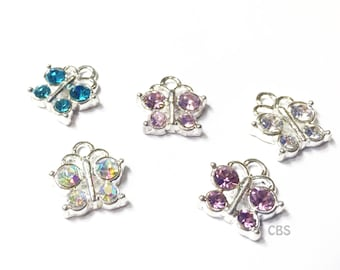 Set of 10 Rhinestone Butterfly Charm or Pendants Pink, Purple, Blue, Silver, & Iridescent. Set of 5
