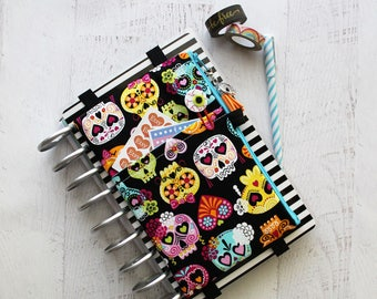 Skull planner cover - happy planner bag - pencil pouch - sugar skulls zippered bag - planner cover pouch - day of the dead bag