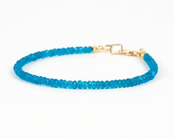 Apatite Bracelet, Neon Blue Apatite Natural Gemstone, Delicate Bracelet, Healing Gemstone, unique-gift-for-wife, holidays, energy, chakra