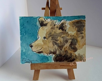 ACEO Bear Smile Watercolor Painting OOAK Animals Art