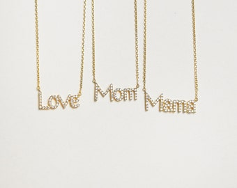Mama Necklace - Mom Necklace - Love Necklace - Pave Stone Necklaces for Mama - Minimal Necklace for Moms - Mother's Day Gifts - RTSF149S