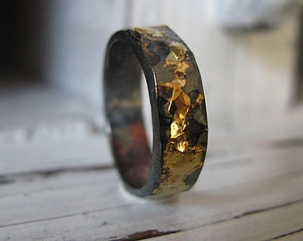 Mens Wedding Band Mens Wedding Ring Black Gold Ring Rustic Mens Wedding Bands Unique Wedding Band 5mm Artisan Ring Viking Wedding Ring