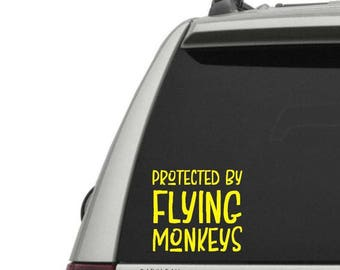 Protected by Flying Monkeys Vinyl Decal - Window Decal + Laptop Decal - High Quality Geeky Vinyl Decals - Protected by Flying Monkeys Decal
