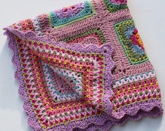 BoHo Pink Flower Sampler Baby Blanket