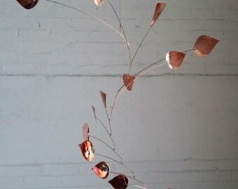 Free Shipping on Copper Mobile Art - 14 leaf Handmade Aspen Leaf Mobile