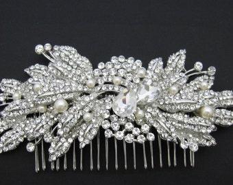 Bohemian Bridal headpiece Boho Bridal hair comb Pearl hair accessories Bridesmaid hair comb Wedding hair comb Rhinestone headpiece Boho comb