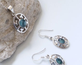 Genuine Apatite .925 sterling silver jewelry set, Green stone sets