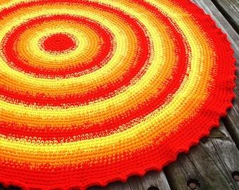 Sunny Day kids room crochet rug, crochet nursery rug, kids rug, childrens bedroom rug, crocheted rugs, crochet floor rug, round crochet rug