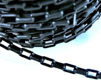 5x3mm Matte Black Rectangle Brass Rolo Chain Ch282