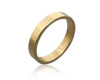 14k Gold Matte Wedding Ring 4mm wide • Wedding Band • Rings For Men • Wedding Jewelry • Promise Ring • Engagement Ring • Commitment Ring